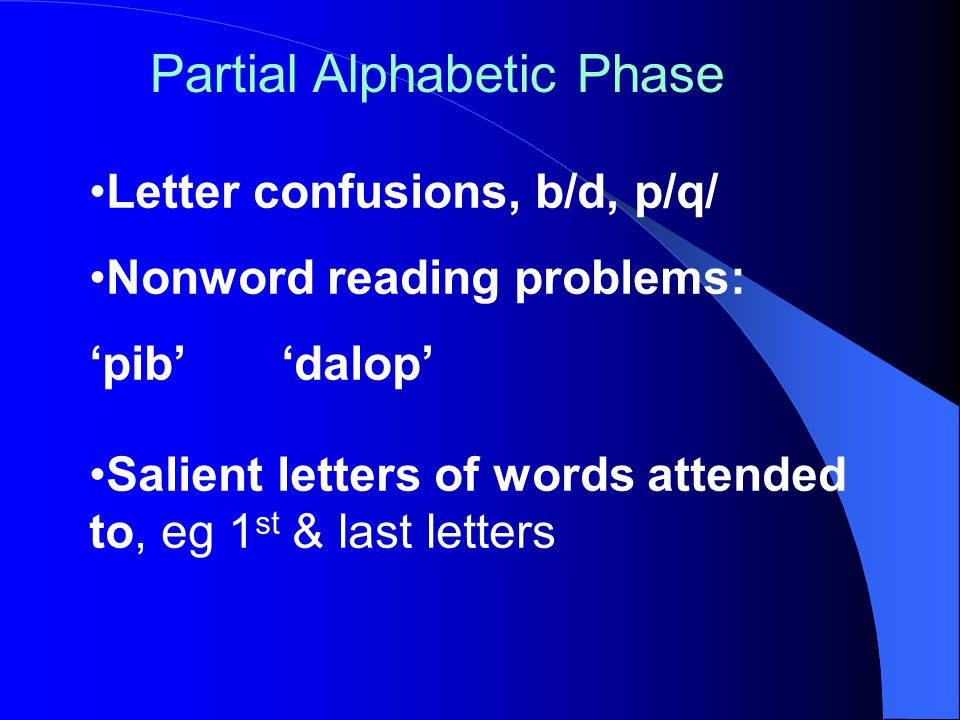 Letter confusions, b/d, p/q/ Nonword reading problems: 'pib''dalop' Salient letters of words attended to, eg 1 st & last letters Partial Alphabetic Phase