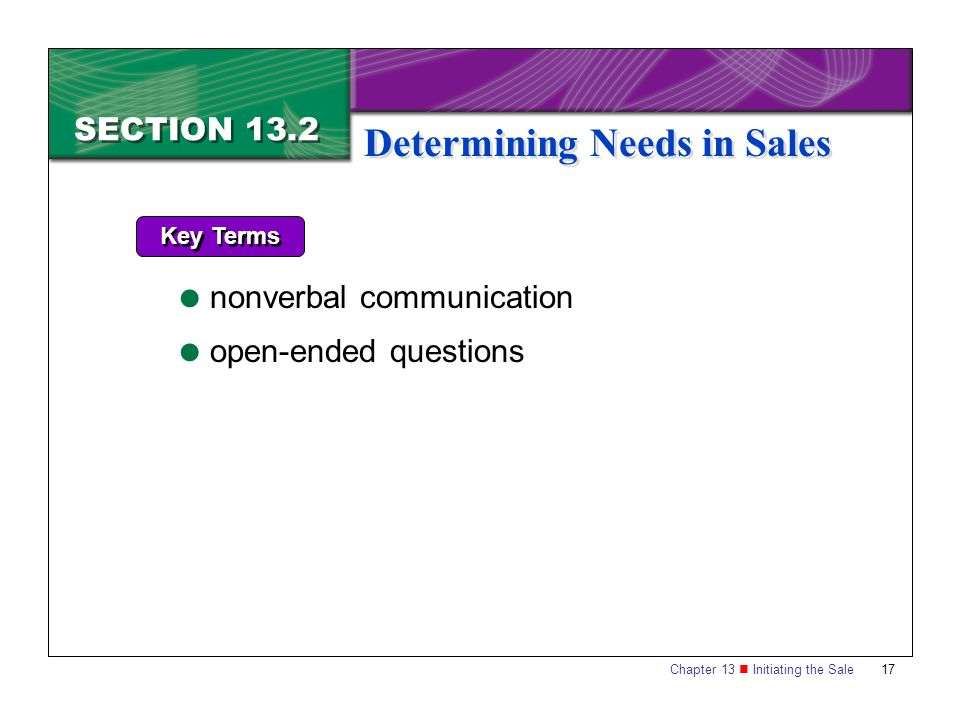 Chapter 13 Initiating the Sale17 SECTION 13.2 Determining Needs in Sales Key Terms  nonverbal communication  open-ended questions