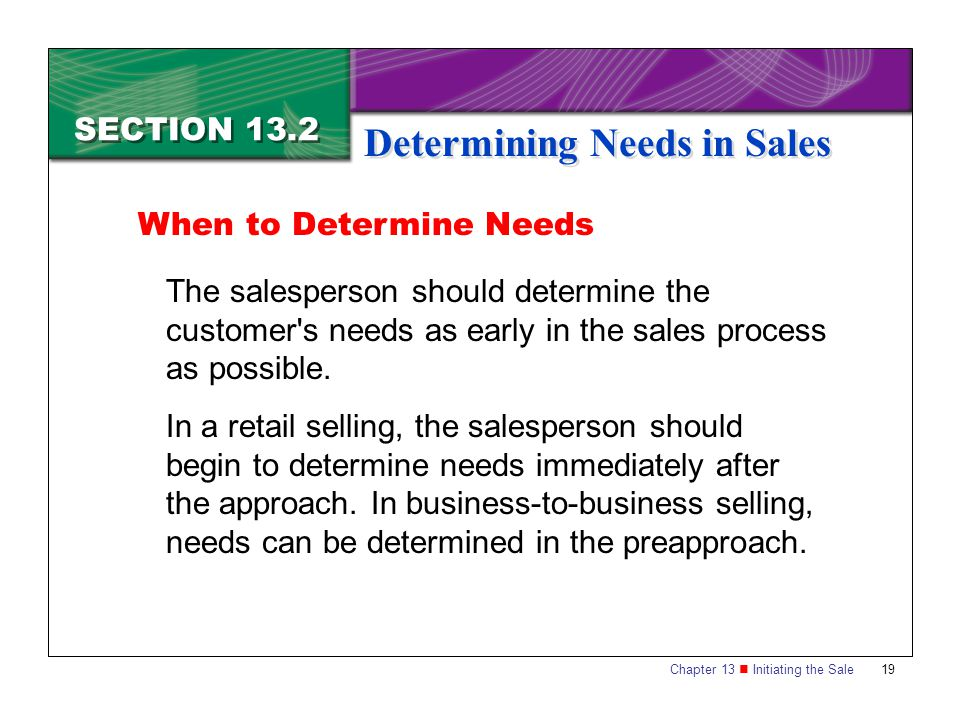 Chapter 13 Initiating the Sale19 SECTION 13.2 Determining Needs in Sales When to Determine Needs The salesperson should determine the customer's needs