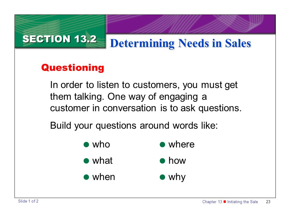 Chapter 13 Initiating the Sale23 SECTION 13.2 Determining Needs in Sales In order to listen to customers, you must get them talking. One way of engagi