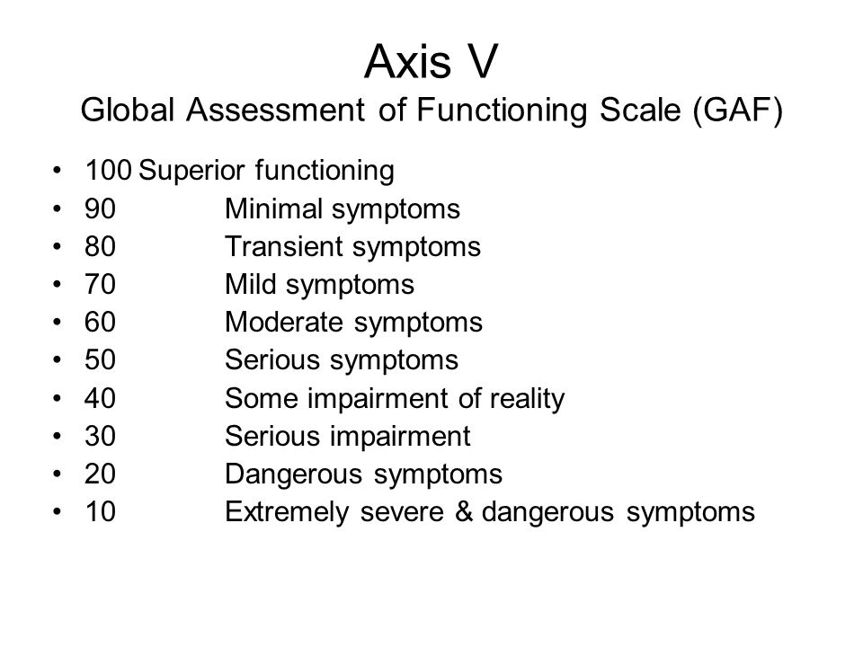 Axis V Global Assessment of Functioning Scale (GAF) 100Superior functioning 90 Minimal symptoms 80Transient symptoms 70 Mild symptoms 60Moderate sympt