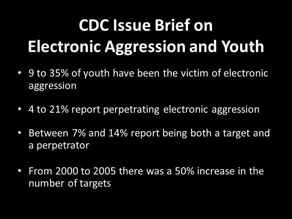 CDC Issue Brief on Electronic Aggression and Youth 9 to 35% of youth have been the victim of electronic aggression 4 to 21% report perpetrating electronic aggression Between 7% and 14% report being both a target and a perpetrator From 2000 to 2005 there was a 50% increase in the number of targets