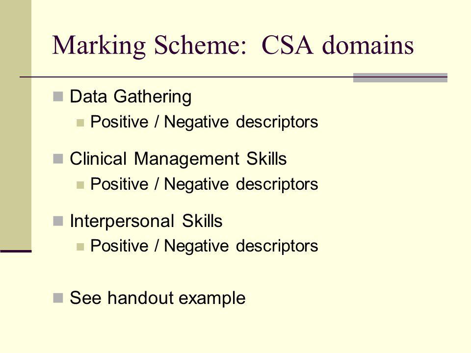 Marking Scheme: CSA domains Data Gathering Positive / Negative descriptors Clinical Management Skills Positive / Negative descriptors Interpersonal Skills Positive / Negative descriptors See handout example