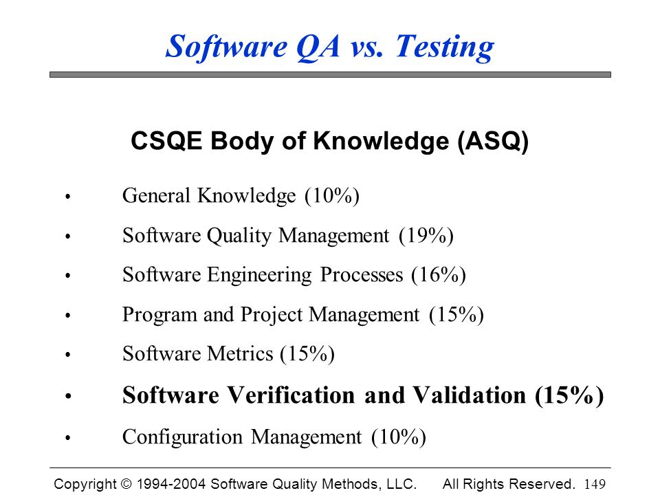 Copyright © 1994-2004 Software Quality Methods, LLC. All Rights Reserved. 149 Software QA vs. Testing CSQE Body of Knowledge (ASQ) General Knowledge (
