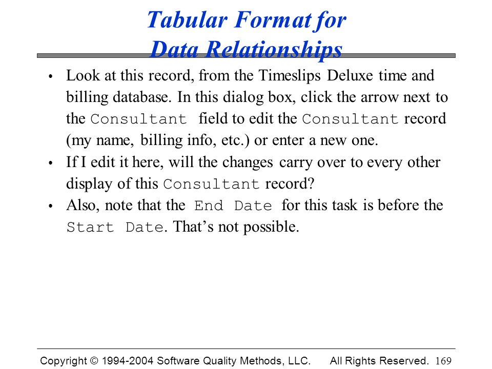 Copyright © 1994-2004 Software Quality Methods, LLC. All Rights Reserved. 169 Tabular Format for Data Relationships Look at this record, from the Time