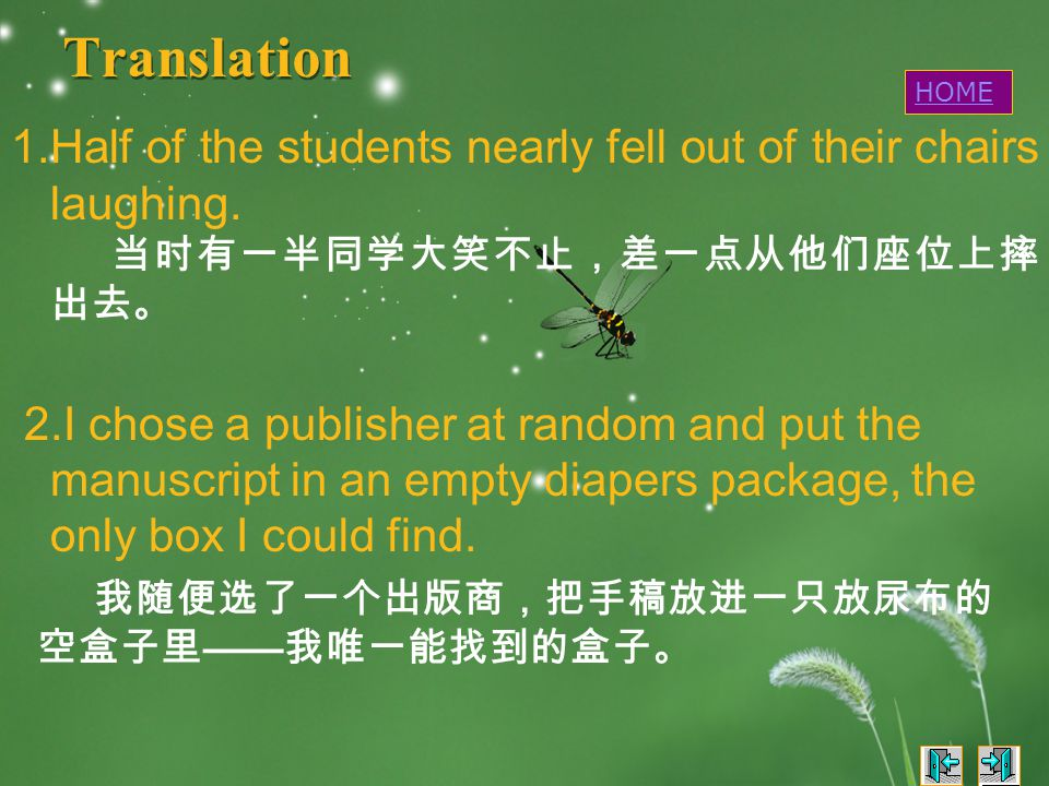 Translation 1.Half of the students nearly fell out of their chairs laughing.