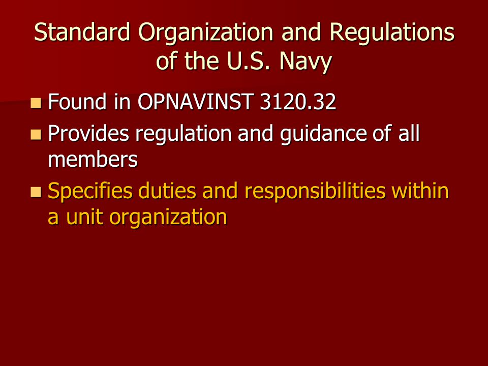 Standard Organization and Regulations of the U.S.