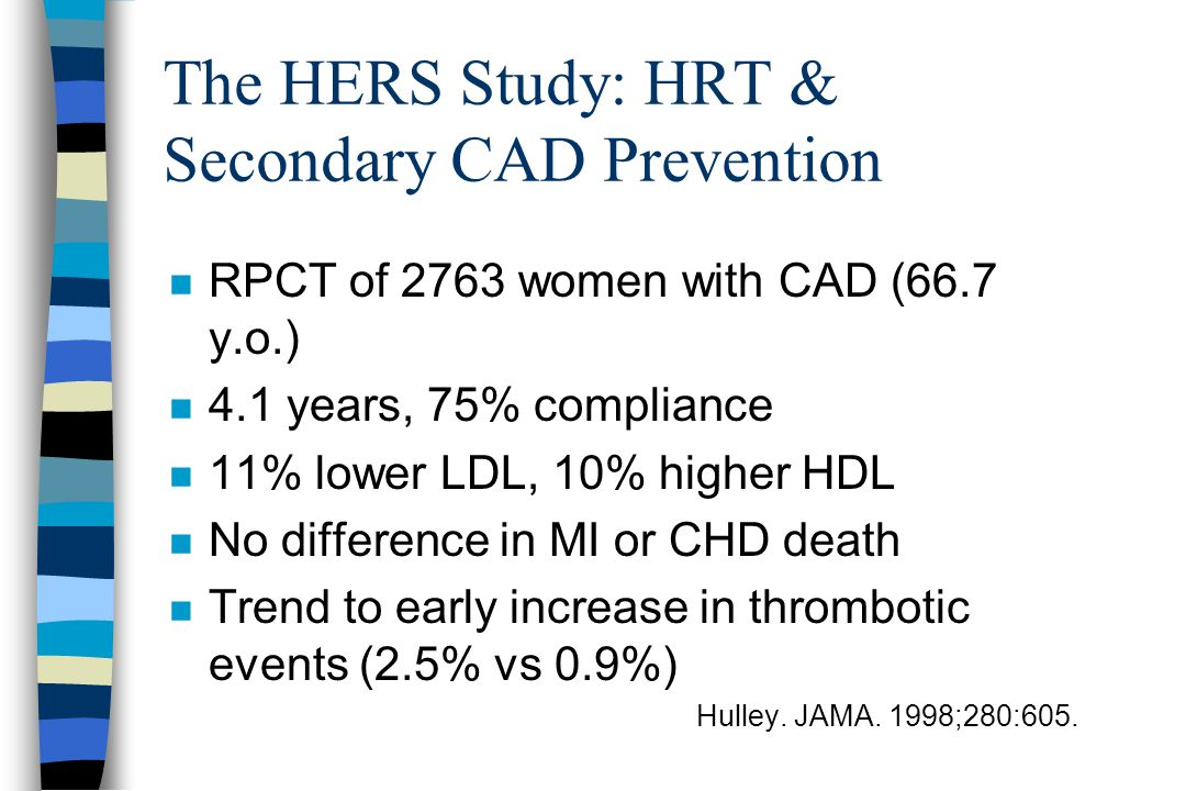 The HERS Study: HRT & Secondary CAD Prevention n RPCT of 2763 women with CAD (66.7 y.o.) n 4.1 years, 75% compliance n 11% lower LDL, 10% higher HDL n No difference in MI or CHD death n Trend to early increase in thrombotic events (2.5% vs 0.9%) Hulley.
