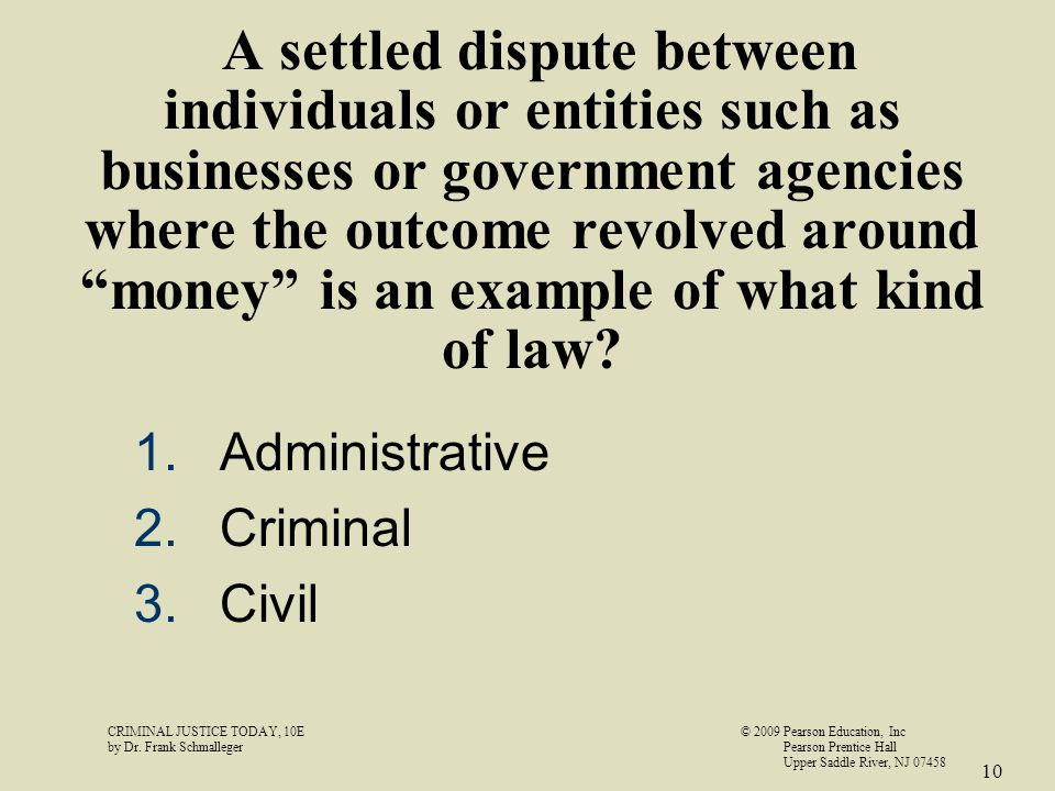 "A settled dispute between individuals or entities such as businesses or government agencies where the outcome revolved around ""money"" is an example of"