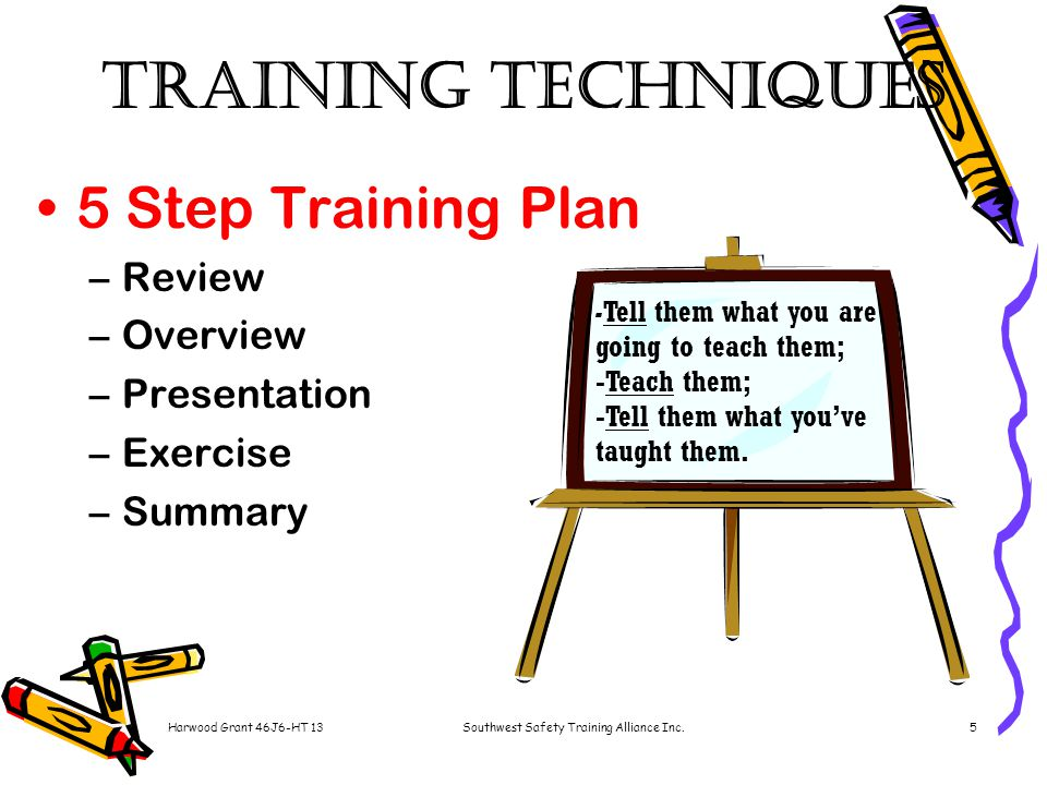 Harwood Grant 46J6-HT 13Southwest Safety Training Alliance Inc.5 Training Techniques 5 Step Training Plan –Review –Overview –Presentation –Exercise –Summary - Tell them what you are going to teach them; -Teach them; -Tell them what you've taught them.