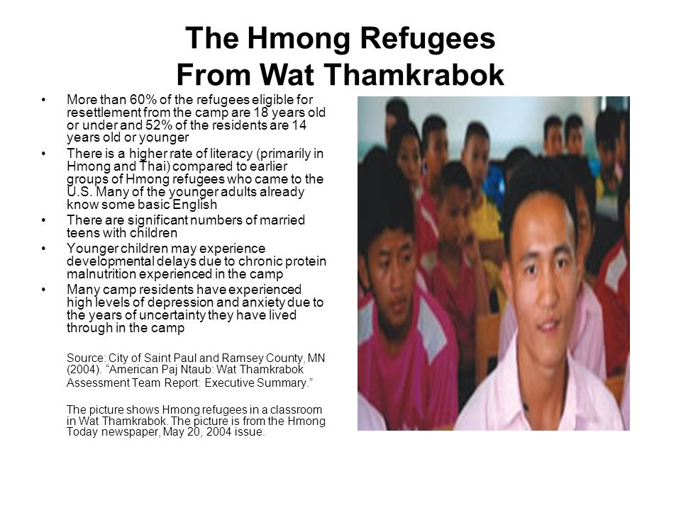 The Hmong Refugees From Wat Thamkrabok More than 60% of the refugees eligible for resettlement from the camp are 18 years old or under and 52% of the