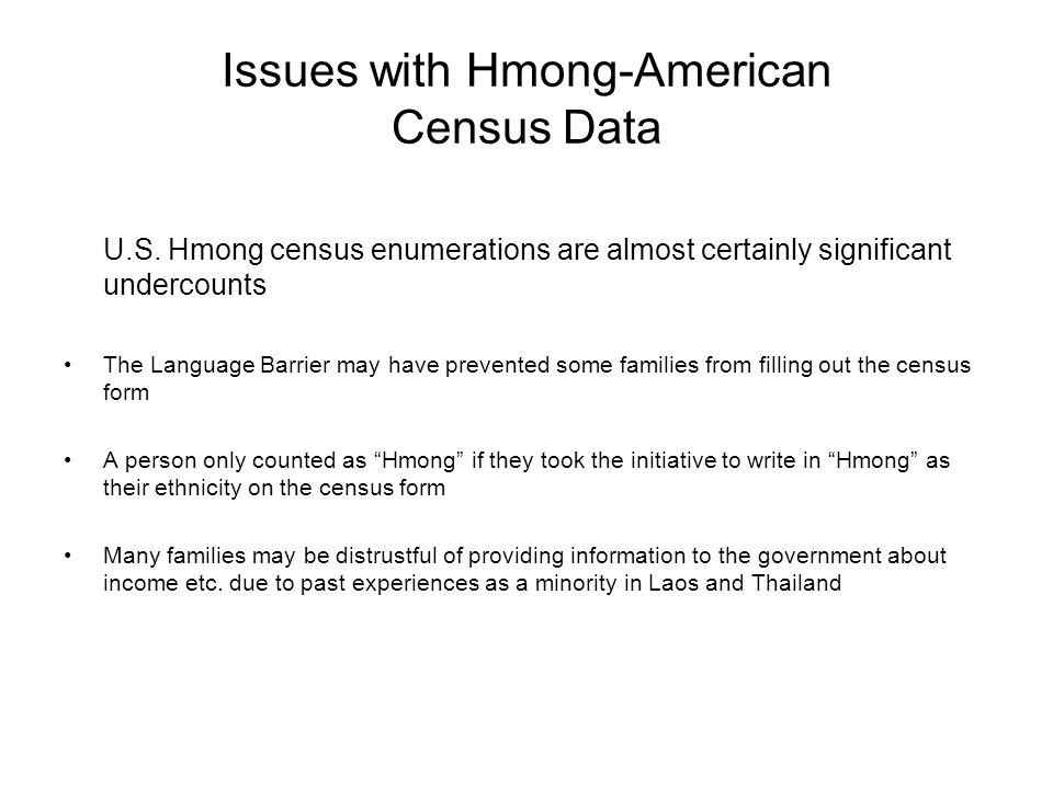 Issues with Hmong-American Census Data U.S. Hmong census enumerations are almost certainly significant undercounts The Language Barrier may have preve