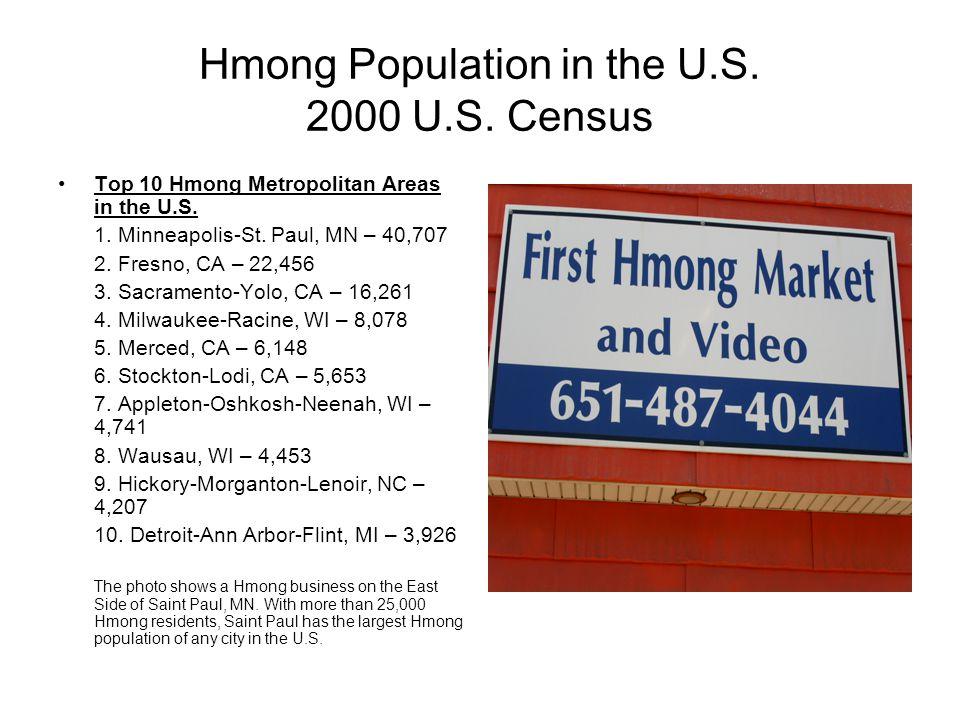 Hmong Population in the U.S. 2000 U.S. Census Top 10 Hmong Metropolitan Areas in the U.S. 1. Minneapolis-St. Paul, MN – 40,707 2. Fresno, CA – 22,456