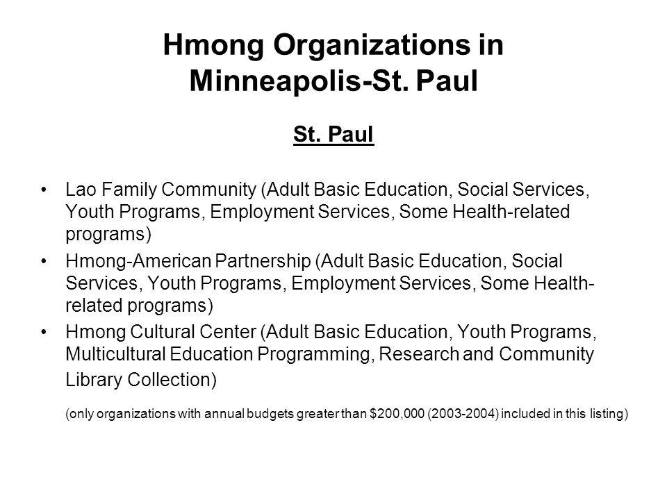 Hmong Organizations in Minneapolis-St. Paul St. Paul Lao Family Community (Adult Basic Education, Social Services, Youth Programs, Employment Services