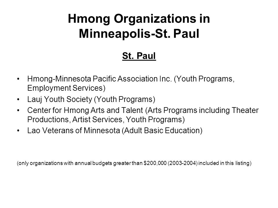 Hmong Organizations in Minneapolis-St. Paul St. Paul Hmong-Minnesota Pacific Association Inc. (Youth Programs, Employment Services) Lauj Youth Society