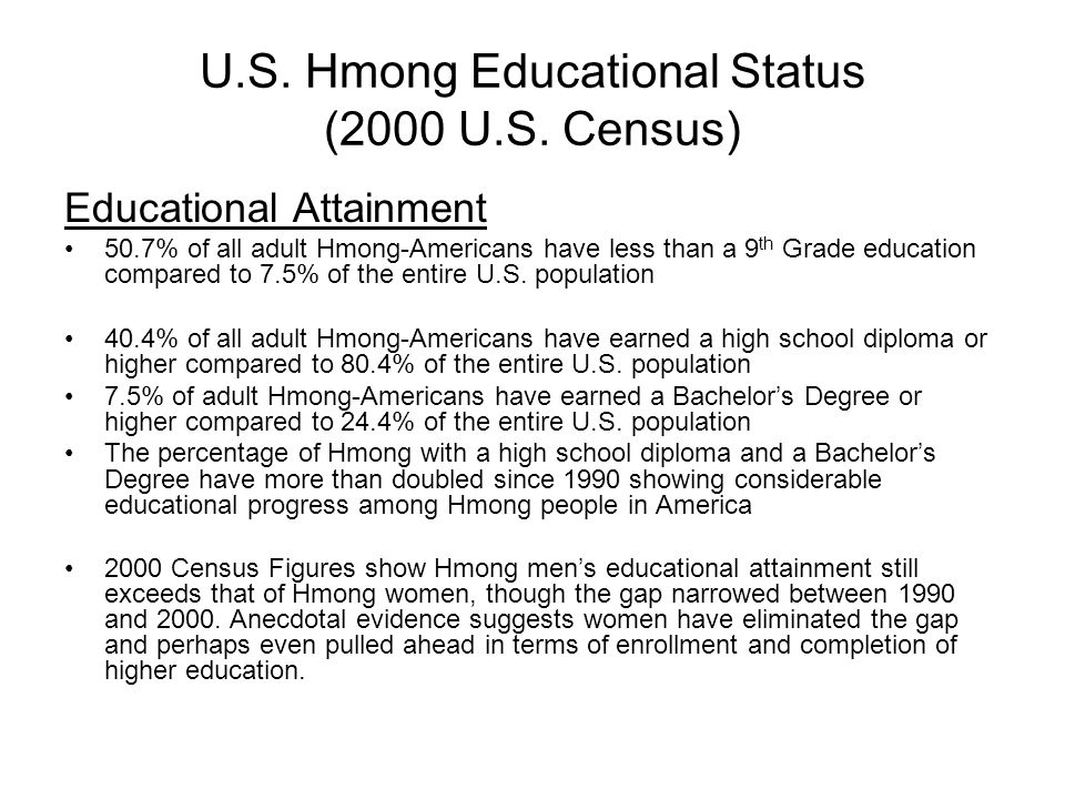 U.S. Hmong Educational Status (2000 U.S. Census) Educational Attainment 50.7% of all adult Hmong-Americans have less than a 9 th Grade education compa