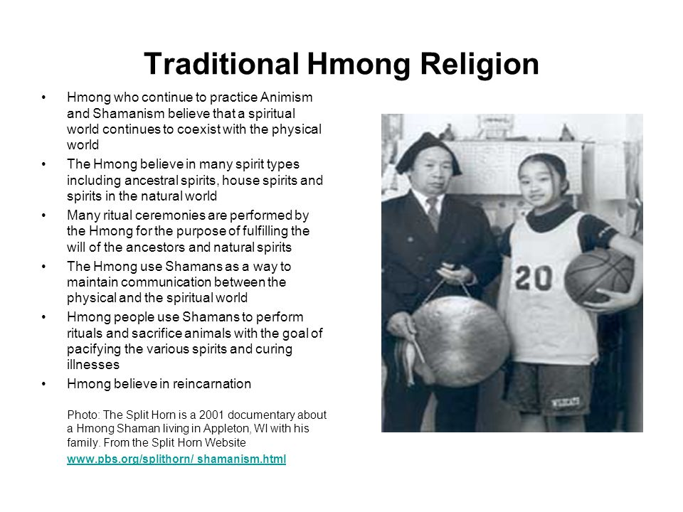 Traditional Hmong Religion Hmong who continue to practice Animism and Shamanism believe that a spiritual world continues to coexist with the physical