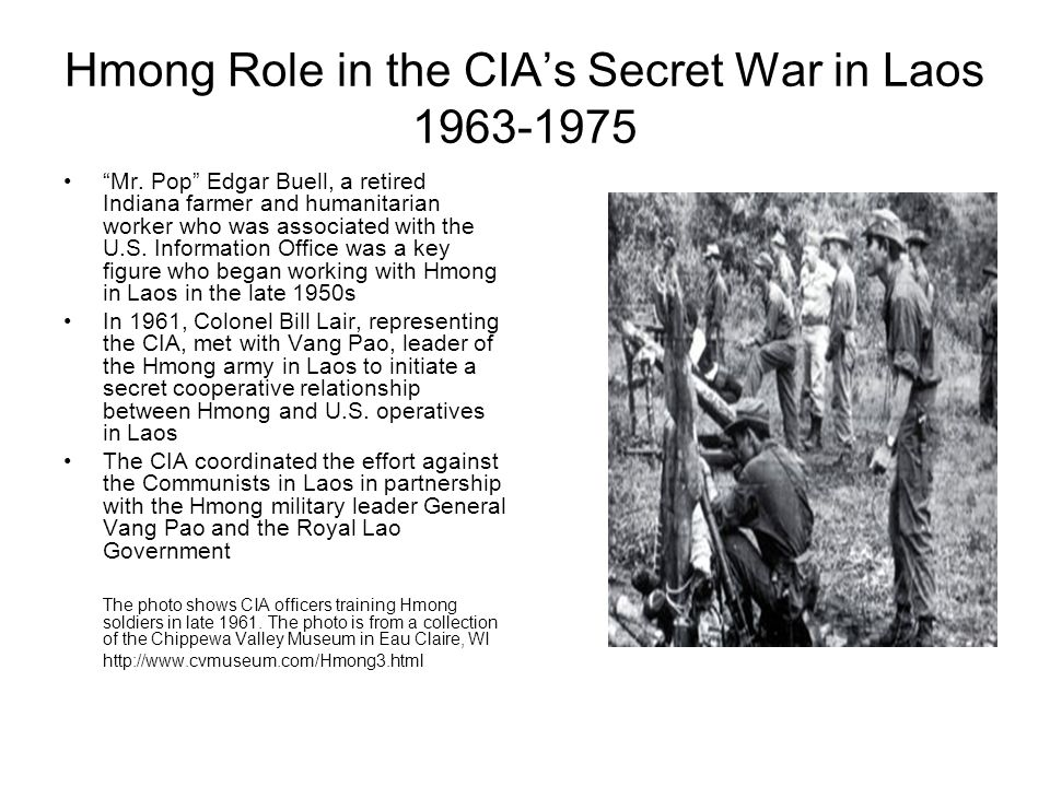 Hmong Role in the CIA's Secret War in Laos 1963-1975 Long Cheng – an airbase in Laos – was the focal point of the Hmong and U.S.