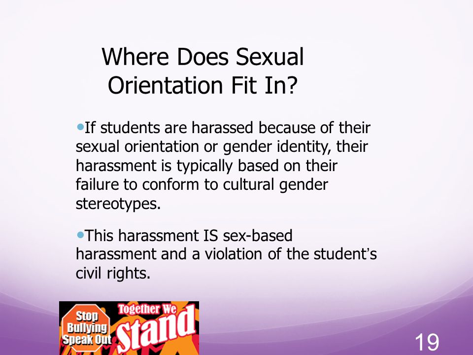 Where Does Sexual Orientation Fit In? If students are harassed because of their sexual orientation or gender identity, their harassment is typically b