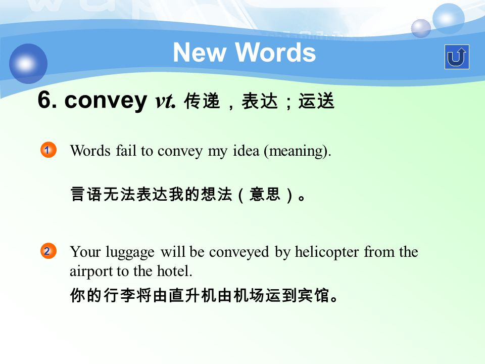 5. obvious a. 显然的,无疑 New Words It was obvious that I knew very little about it.