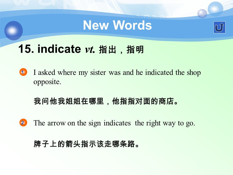 14. opposite a. 全然不同的,相反的;对面的 New Words The result was quite opposite to what we had expected. 1 结果和我们所期望的完全相反。 He turned away and walked in the oppos