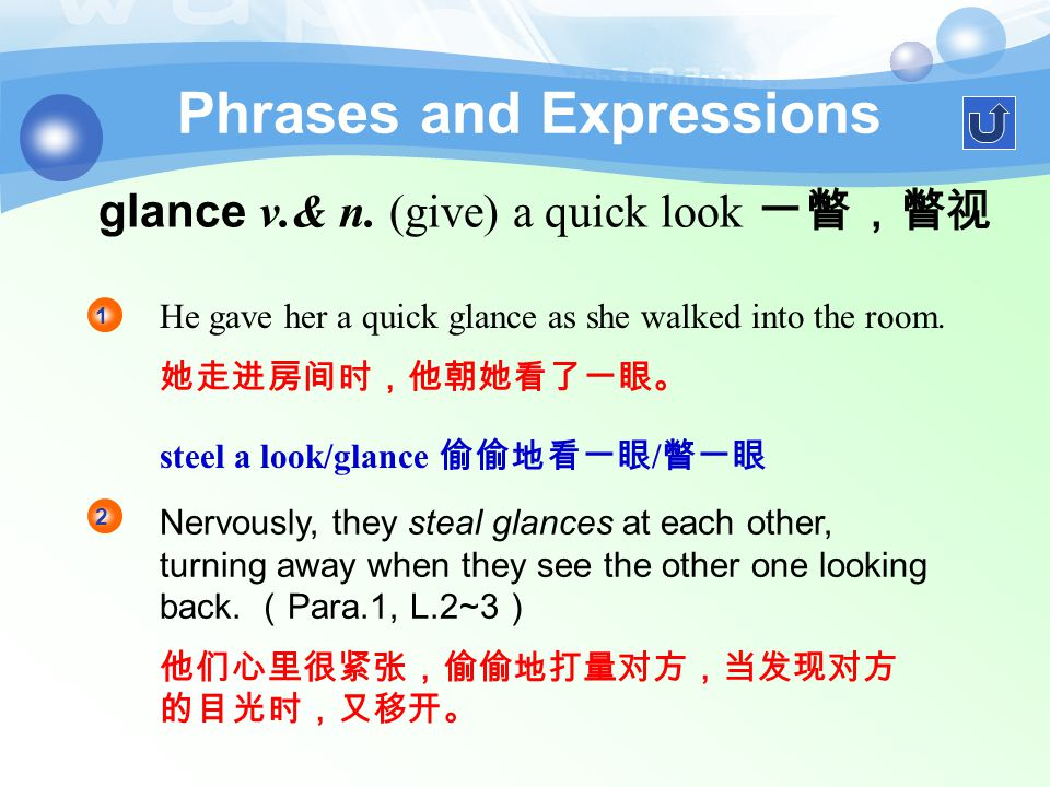 Phrases and Expressions 1. glance around 环视 Nadine to see if there was anyone that she knew. 纳丁快速环视了一下,看看是否有她认识的人。 glanced around 我环视了一下房间才离开。 I glanc