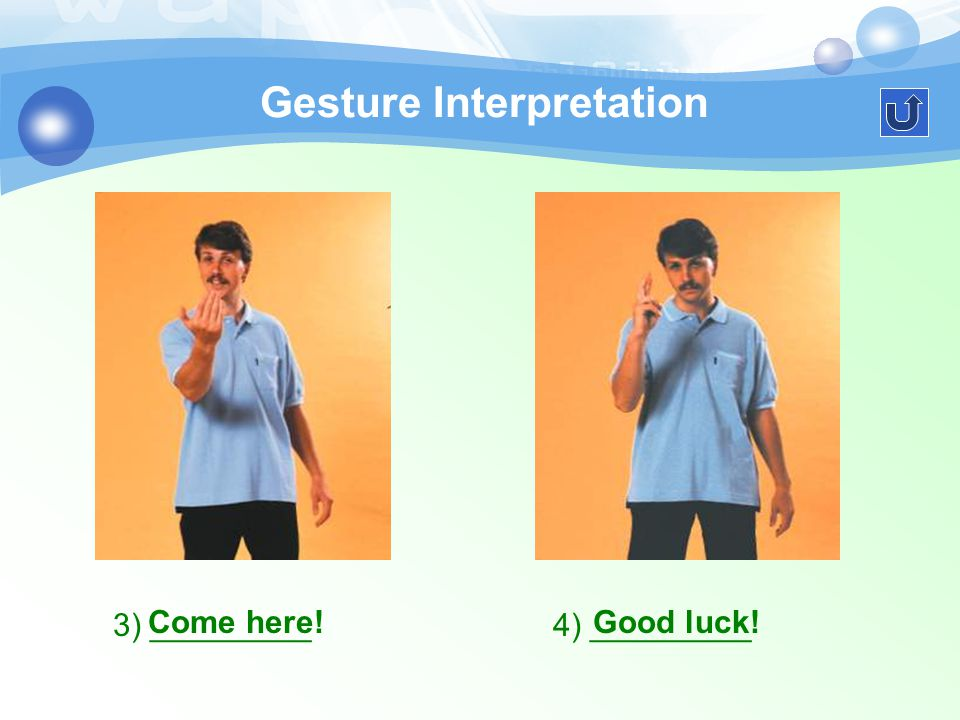 Gesture Interpretation Study the following pictures and tell each other the meanings of them.