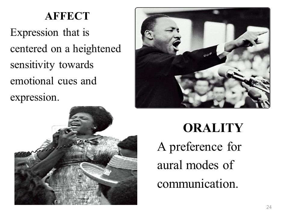 24 AFFECT Expression that is centered on a heightened sensitivity towards emotional cues and expression. ORALITY A preference for aural modes of commu