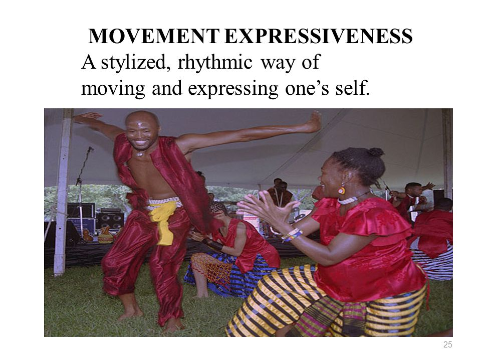 25 MOVEMENT EXPRESSIVENESS A stylized, rhythmic way of moving and expressing one's self.