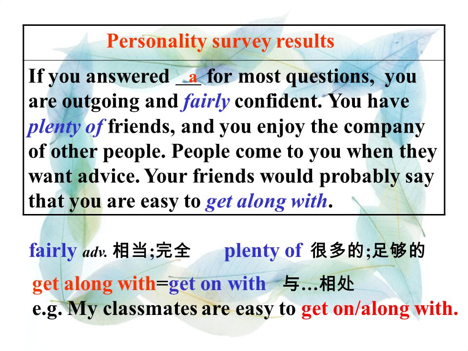"""3a Look at the survey in activity 2a. Then read the personality survey results below. Fill in the blanks in the results with """"a"""", """"b"""" or """"c"""". Personal"""