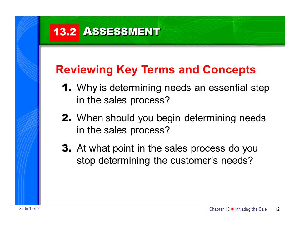 Chapter 13 Initiating the Sale 12 13.2 A SSESSMENT Reviewing Key Terms and Concepts 1.