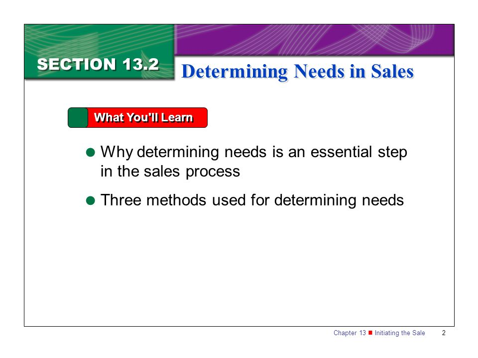 Chapter 13 Initiating the Sale 2 SECTION 13.2 What You ll Learn  Why determining needs is an essential step in the sales process  Three methods used for determining needs Determining Needs in Sales