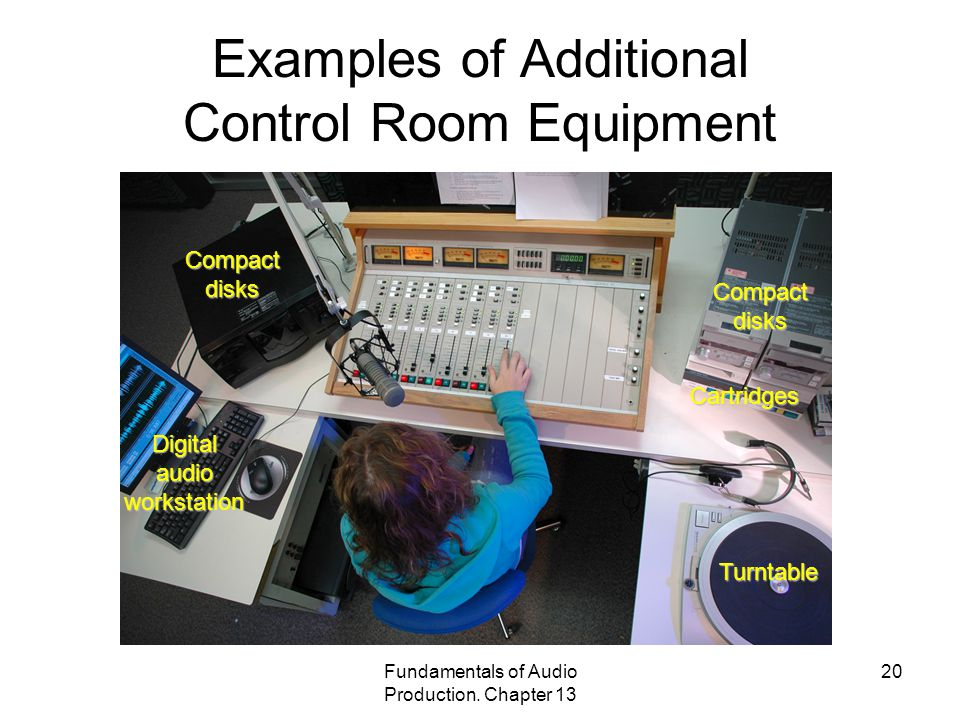 Fundamentals of Audio Production. Chapter 13 20 Examples of Additional Control Room Equipment Digital audio workstation Compact disks Cartridges Turnt