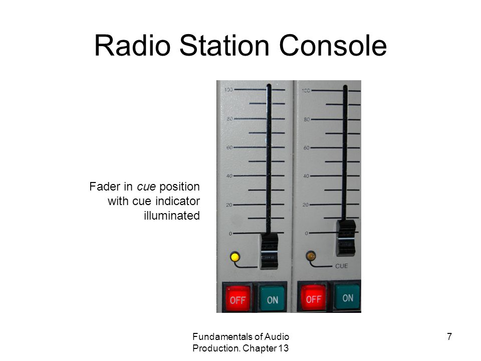 Fundamentals of Audio Production. Chapter 13 7 Radio Station Console Fader in cue position with cue indicator illuminated