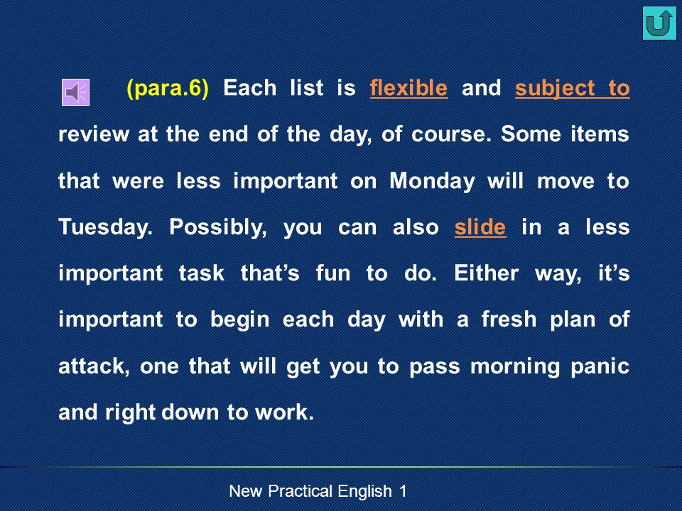 New Practical English 1 (para.5)Now, divide projects into three smaller lists.