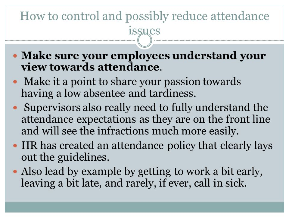 Conclusion As at any time during the process, HR is available to assist or even talk to the employee with you.