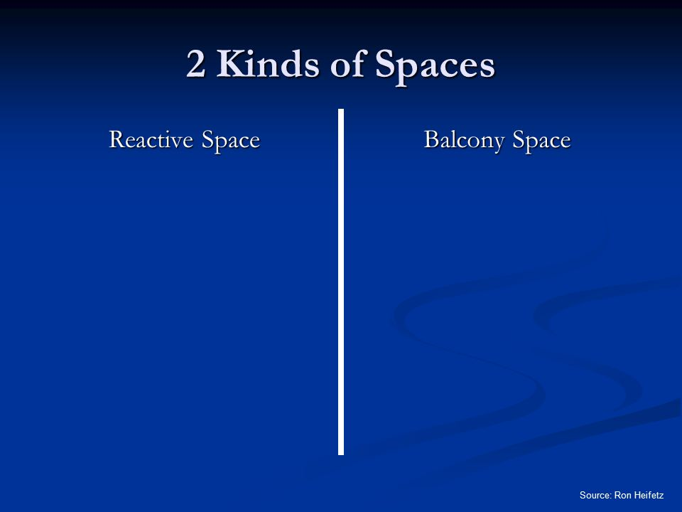 2 Kinds of Spaces Reactive Space Balcony Space Source: Ron Heifetz