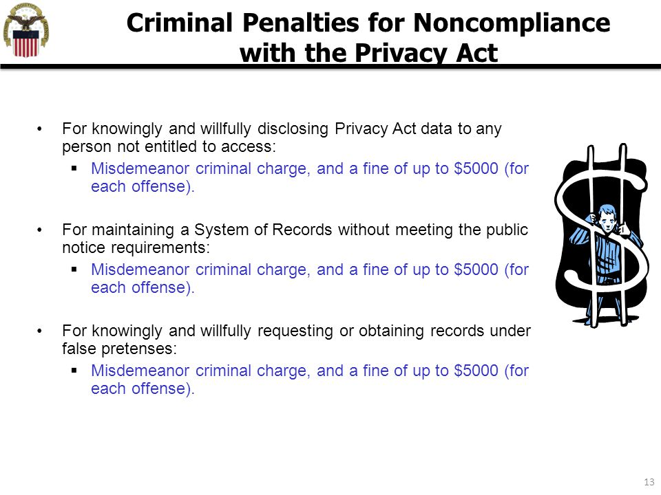 13 For knowingly and willfully disclosing Privacy Act data to any person not entitled to access:  Misdemeanor criminal charge, and a fine of up to $5