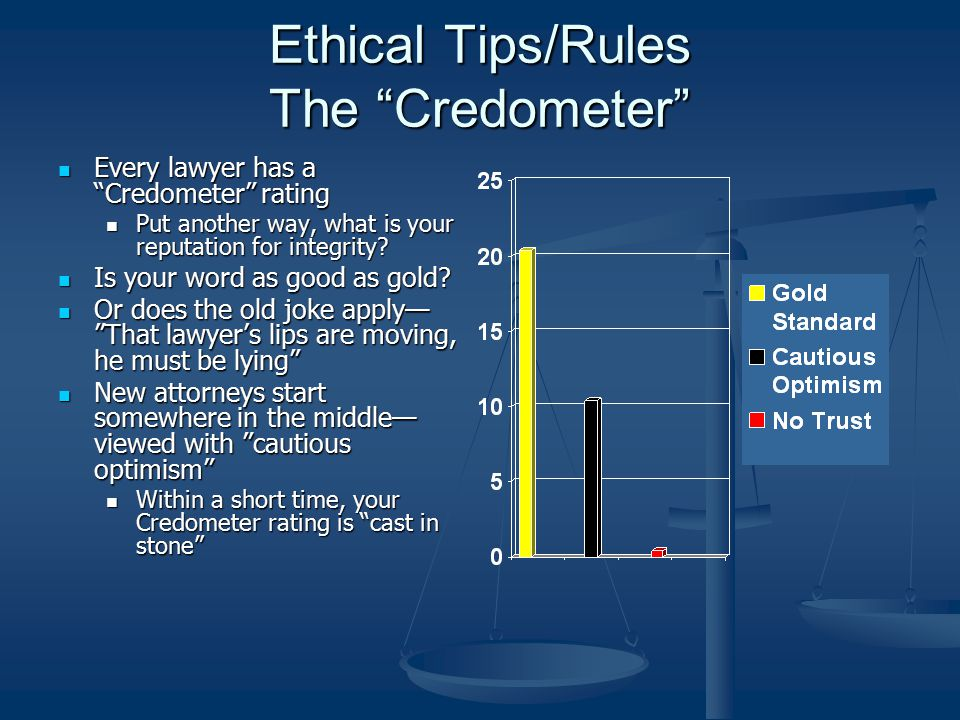 "Ethical Tips/Rules The ""Credometer"" Every lawyer has a ""Credometer"" rating Every lawyer has a ""Credometer"" rating Put another way, what is your reputa"