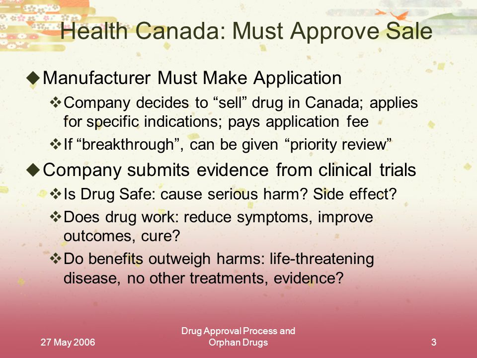 27 May 2006 Drug Approval Process and Orphan Drugs3 Health Canada: Must Approve Sale  Manufacturer Must Make Application  Company decides to sell drug in Canada; applies for specific indications; pays application fee  If breakthrough , can be given priority review  Company submits evidence from clinical trials  Is Drug Safe: cause serious harm.
