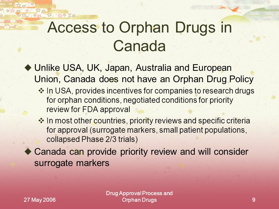 27 May 2006 Drug Approval Process and Orphan Drugs9 Access to Orphan Drugs in Canada  Unlike USA, UK, Japan, Australia and European Union, Canada does not have an Orphan Drug Policy  In USA, provides incentives for companies to research drugs for orphan conditions, negotiated conditions for priority review for FDA approval  In most other countries, priority reviews and specific criteria for approval (surrogate markers, small patient populations, collapsed Phase 2/3 trials)  Canada can provide priority review and will consider surrogate markers