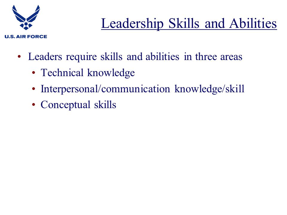 Leaders require skills and abilities in three areas Technical knowledge Interpersonal/communication knowledge/skill Conceptual skills Leadership Skills and Abilities