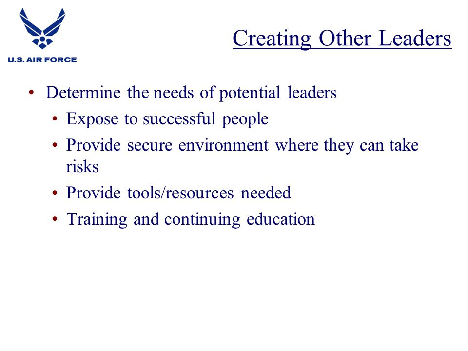 Determine the needs of potential leaders Expose to successful people Provide secure environment where they can take risks Provide tools/resources needed Training and continuing education Creating Other Leaders