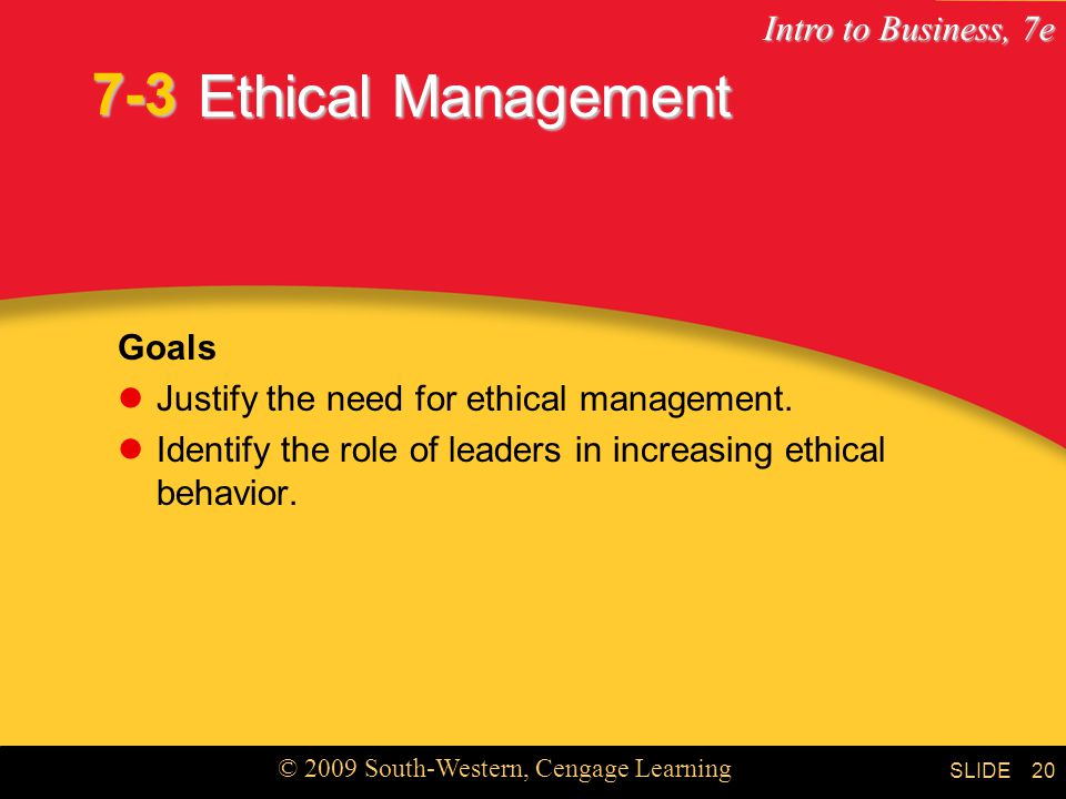 Intro to Business, 7e © 2009 South-Western, Cengage Learning SLIDE Chapter 7 21 Key Terms ethical business practices core values