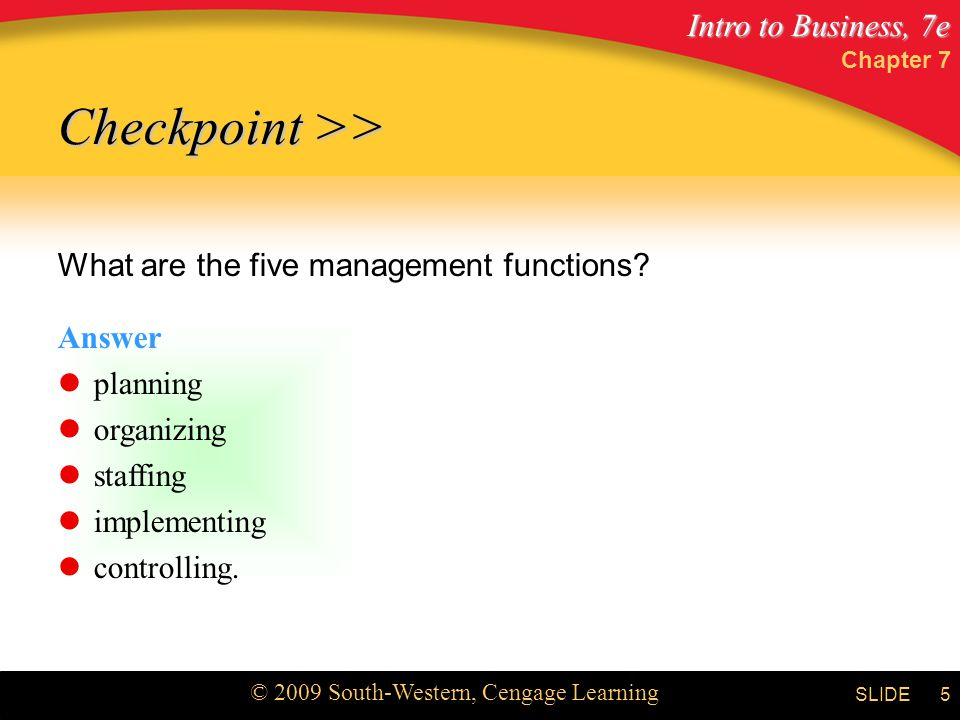 Intro to Business, 7e © 2009 South-Western, Cengage Learning SLIDE Chapter 7 6 MANAGEMENT LEVELS Top management Mid-management Supervisors Management by others
