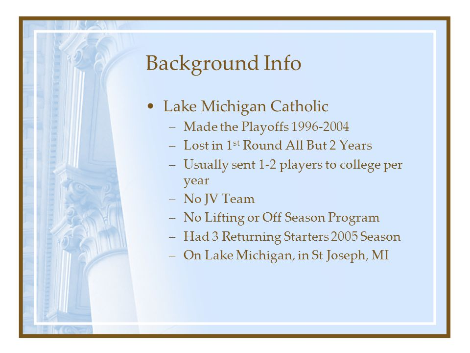 Background Info Lake Michigan Catholic –Made the Playoffs 1996-2004 –Lost in 1 st Round All But 2 Years –Usually sent 1-2 players to college per year