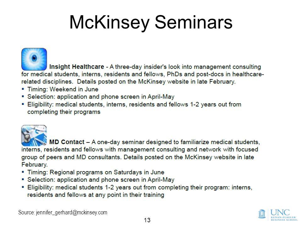 13 McKinsey Seminars Source: jennifer_gerhard@mckinsey.com