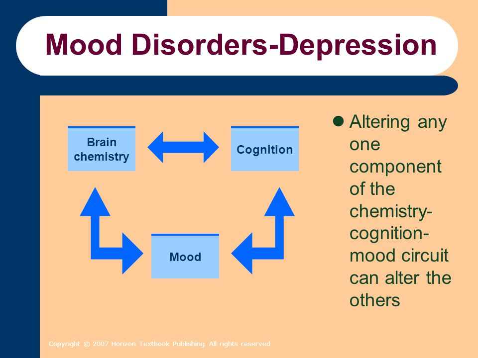 Copyright © 2007 Horizon Textbook Publishing All rights reserved Mood Disorders-Depression Altering any one component of the chemistry- cognition- moo
