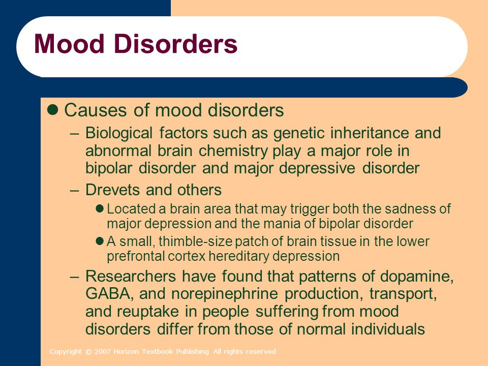 Copyright © 2007 Horizon Textbook Publishing All rights reserved Mood Disorders Causes of mood disorders –Biological factors such as genetic inheritan