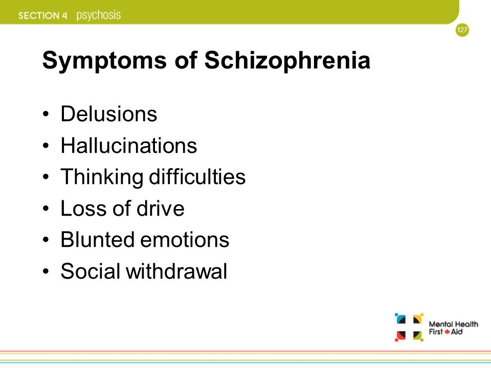 127 Symptoms of Schizophrenia Delusions Hallucinations Thinking difficulties Loss of drive Blunted emotions Social withdrawal